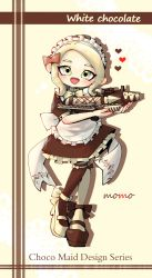 1girl, :d, apron, artist name, back bow, black bow, black dress, black footwear, black legwear, blonde hair, bow, bow legwear, bowtie, commentary request, doily, dress, english text, frilled dress, frills, full body, hair bow, heart, highres, holding, holding weapon, looking at viewer, maid, maid apron, maid headdress, makeup, mary janes, mascara, medium dress, mismatched footwear, mismatched legwear, mokokoiro, nintendo, octoling, open mouth, pink bow, pointy ears, puffy short sleeves, puffy sleeves, shadow, shoes, short hair, short sleeves, signature, smile, solo, splatoon (series), splattershot pro (splatoon), standing, standing on one leg, tentacle hair, thighhighs, weapon, white apron, yellow eyes, yellow footwear, yellow legwear, yellow neckwear