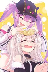 2girls, ^ ^, ^o^, animal ears, baseball cap, belt, bibi (tokoyami towa), black choker, black headwear, black jacket, black shirt, black shorts, blush, breasts, choker, closed eyes, commentary, crop top, cropped jacket, cupping hands, dated, ear piercing, eyebrows visible through hair, eyes closed, fang, flower, fur-trimmed jacket, fur trim, hair between eyes, hair flower, hair ornament, hairclip, hairpin, halter top, halterneck, hand on another's head, hat, head wreath, highres, hikawa shou, holding, holding flower, hololive, horned headwear, jacket, jewelry, lion ears, lion girl, long hair, medium breasts, midriff, multiple girls, necklace, off shoulder, open clothes, open jacket, open mouth, piercing, purple hair, shirt, shishiro botan, shorts, signature, silver hair, simple background, sleeveless, sleeveless shirt, smile, striped, striped shirt, tokoyami towa, twintails, upper body, vertical-striped shirt, vertical stripes, virtual youtuber, white belt, white flower, white jacket, yellow background, yellow flower