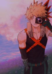 1boy, bakugou katsuki, bangs, bare shoulders, belt, black gloves, black pants, black shirt, black sleeves, blonde hair, boku no hero academia, camera, closed mouth, collarbone, commentary, detached sleeves, english commentary, expressionless, field, gloves, grass, hair ornament, hand in pocket, hand up, holding, holding camera, male focus, one eye closed, outdoors, pants, red gloves, shirt, short hair, sleeveless, solo, spiked hair, two-tone gloves, wengwengchim