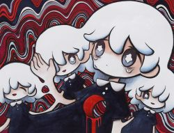 4girls, abstract, black dress, black eyes, collared dress, dress, eyes closed, gradient eyes, grey eyes, hair between eyes, hair over one eye, hand up, highres, hole in chest, hole on body, multicolored, multicolored eyes, multiple girls, no nose, open mouth, original, short sleeves, smile, star-shaped pupils, star (symbol), surreal, symbol-shaped pupils, tears, upper body, white hair, zukky000