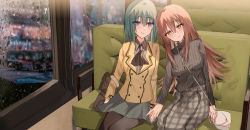 2girls, :d, ascot, bag, bangs, black legwear, black neckwear, black sweater, blue eyes, blurry, blurry background, blush, breasts, brown eyes, brown hair, brown jacket, bus interior, closed mouth, collared shirt, depth of field, eyebrows visible through hair, green hair, grey shirt, grey skirt, hair between eyes, handbag, hands together, highres, jacket, kinona, leaning on person, leaning to the side, long hair, long sleeves, medium breasts, multiple girls, open mouth, original, pantyhose, plaid, plaid skirt, pleated skirt, ribbed sweater, shirt, shoulder bag, skirt, smile, sweater, turtleneck, turtleneck sweater, very long hair, water drop, window, yuri