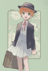 1girl, :d, ahoge, azuki (aduki), bare legs, black headwear, black jacket, border, buttons, emma (yakusoku no neverland), feet out of frame, floral background, green background, green eyes, hat, highres, holding, holding suitcase, jacket, looking at viewer, neck tattoo, necktie, number tattoo, official alternate costume, open clothes, open jacket, open mouth, pleated skirt, red neckwear, shirt, short hair, simple background, skirt, smile, solo, suitcase, tattoo, twitter username, vest, wavy hair, white shirt, white skirt, white vest, yakusoku no neverland