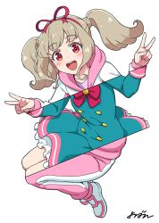 1girl, :d, aikatsu! (series), aikatsu on parade!, aqua dress, bangs, blunt bangs, blush, bow, bowtie, buttons, double-breasted, double v, dress, frilled dress, frills, full body, hair ribbon, happy, highres, hood, hooded track jacket, jacket, kiseki raki, knees up, light brown hair, long hair, looking at viewer, multicolored, multicolored clothes, multicolored eyes, multicolored footwear, multicolored jacket, multicolored pants, open mouth, orange eyes, pants, pink eyes, pink footwear, pink jacket, pink pants, pink sailor collar, red bow, red ribbon, ribbon, round teeth, sailor collar, sidelocks, signature, simple background, smile, solo, star harmony academy uniform, tagme, teeth, track jacket, track suit, twintails, upper teeth, v, white background, white footwear, white jacket, white pants, white stripes, yoban