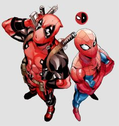 2boys, abs, bodysuit, crossed arms, deadpool, from above, gloves, katana, looking up, male focus, marvel, mask, multiple boys, muscular, muscular male, nashigawa, red gloves, sheath, sheathed, spider-man, spider-man (series), superhero, sword, weapon, weapon on back, white eyes