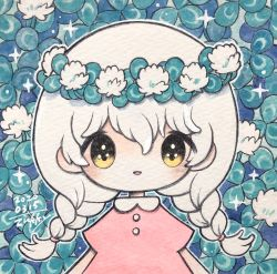 1girl, bangs, blush, dated, dress, flower, highres, leaf, long hair, no nose, open mouth, original, outline, pink dress, short sleeves, signature, smile, solo, traditional media, twintails, upper body, white flower, white hair, white outline, yellow eyes, zukky000