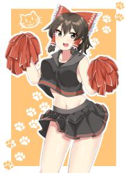1girl, :3, adapted costume, bangs, black eyes, black shirt, black skirt, blush, border, bow, breasts, brown hair, cat, cheerleader, commentary request, cookie (touhou), cowboy shot, crop top, eyebrows visible through hair, frilled bow, frills, gnzy, hair between eyes, hair bow, hair tubes, hakurei reimu, highres, holding, holding pom poms, looking at viewer, maru (cookie), medium breasts, midriff, miniskirt, navel, open mouth, orange background, outside border, paw print background, pom poms, red bow, shirt, short hair, skirt, solo, touhou, upper teeth, white border