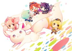 5girls, akemi homura, animal, apple, arm support, black hair, black headwear, black ribbon, blonde hair, blue hair, blue skirt, blush stickers, bubble skirt, cape, chibi, colorful, creature, drill hair, dutch angle, eyes closed, facing viewer, feathers, floating hair, flower, food, fruit, hair flower, hair ornament, hair ribbon, hairband, hairpin, half-closed eyes, hanging, hat, holding, holding food, kaname madoka, knees together feet apart, kyubey, light particles, looking at another, looking back, looking to the side, mahou shoujo madoka magica, miki sayaka, minigirl, multiple girls, open mouth, oversized animal, pink eyes, pink hair, polka dot, polka dot background, puffy sleeves, red hair, ribbon, sakura kyouko, shield, shiny, shiny hair, short hair, simple background, sitting, sitting on animal, skirt, souno kazuki, spiral eyes, star (symbol), star in eye, striped, striped legwear, symbol in eye, tomoe mami, twin drills, twintails, white background, white cape, yellow eyes, yellow skirt