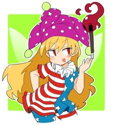 1girl, :d, american flag, american flag dress, american flag legwear, arm behind back, bangs, blonde hair, border, clownpiece, cropped legs, dress, eyebrows visible through hair, fairy wings, green background, hat, holding, holding torch, ini (inunabe00), jester cap, long hair, looking to the side, neck ruff, open mouth, polka dot headwear, purple headwear, red eyes, short sleeves, simple background, smile, solo, standing, star (symbol), star print, striped, striped dress, striped legwear, torch, touhou, v-shaped eyebrows, white border, wings