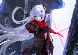 1girl, black coat, black gloves, coat, eyebrows visible through hair, eyeshadow, gloves, glowing, glowing weapon, heterochromia, highres, holding, holding sword, holding weapon, katana, long hair, looking at viewer, makeup, punishing: gray raven, red eyes, solo, sword, torn, torn clothes, torn coat, vardan, weapon, white hair, yellow eyes, zipper