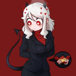 1girl, arms behind back, black horns, black jacket, black miniskirt, black skirt, black suit, black tail, blush, box, breasts, business suit, closed mouth, colon daityou25, curly hair, demon girl, demon horns, demon tail, formal, gift, gift box, hands together, heart, heart-shaped pupils, helltaker, highres, holding, holding gift, horns, jacket, large breasts, long sleeves, looking away, looking down, medium hair, miniskirt, modeus (helltaker), red background, red eyes, red legwear, red sweater, ribbed shirt, shirt, short hair, simple background, skirt, sleeves past wrists, solo, standing, suit, sweater, symbol-shaped pupils, tail, turtleneck, white hair