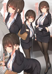 1boy, 1girl, adjusting hair, arms under breasts, bag, bandage, bandaged arm, bandages, bent over, black footwear, black jacket, black legwear, black skirt, blush, breast rest, breasts, brown eyes, brown hair, closed mouth, collared shirt, commentary request, eyebrows visible through hair, from side, high heels, highres, holding, holding bag, indoors, jacket, keyboard (computer), lanyard, large breasts, long hair, long sleeves, looking at viewer, mouse (computer), multiple views, office lady, open mouth, original, pantyhose, pencil skirt, ponytail, shirt, shirt tucked in, skirt, smile, standing, sune (mugendai), translation request, white shirt