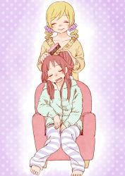 2girls, barefoot, blonde hair, brushing another's hair, chair, collarbone, drill hair, drooling, easy chair, eyebrows visible through hair, eyes closed, facing viewer, fingernails, full body, green hoodie, hair brush, hair down, hands on lap, happy, holding another's hair, hood, hood down, hoodie, horizontal stripes, knees together feet apart, kyo-ani love, leaning to the side, light blush, long hair, loose clothes, loose pants, mahou shoujo madoka magica, multiple girls, open mouth, pajamas, pants, parted lips, polka dot, polka dot background, polka dot hoodie, purple background, purple scrunchie, red hair, sakura kyouko, scrunchie, simple background, sitting, sleeping, sleeping upright, smile, standing, striped, striped pants, sweater, tomoe mami, twin drills, yellow sweater