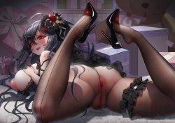 Rule 34 | ass, black footwear, black hair, box, breasts, gift, gift box, gift tag, high heels, large breasts, long hair, louboutins, pantyhose, patent heels, pointy footwear, pumps, pussy, red eyes, rhasta, shoes, stiletto heels, stuffed animal, stuffed toy, taihou (azur lane), teddy bear, thick thighs, thighs