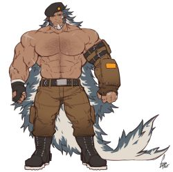 1boy, abs, absurdly long hair, bara, beard, blue hair, brown pants, bulge, character request, check copyright, chest hair, copyright request, dark skin, dark skinned male, facial hair, full body, gomtang, hairy, large pectorals, long hair, male focus, mature male, multicolored hair, muscular, muscular male, navel, navel hair, nipples, old, old man, original, pants, shirtless, solo, stomach, thick thighs, thighs, two-tone hair, very long hair, white hair