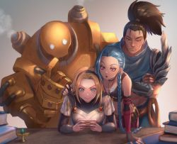 1boy, 2girls, armor, bandage, bare shoulders, black gloves, black hairband, black nails, blitzcrank, blonde hair, blue eyes, blue hair, book, book stack, braid, breastplate, brown hair, bullet, bullet necklace, cellphone, closed mouth, crossed arms, elbow gloves, facial hair, film grain, fingerless gloves, fingernails, gloves, grey eyes, hairband, half-closed eyes, highres, holding, holding phone, jinx (league of legends), league of legends, long hair, luxanna crownguard, multiple girls, nail polish, nyaamen fork, pauldrons, phone, playing, playing games, pointing, ponytail, purple eyes, robot, scar, scar on face, scar on nose, shoulder armor, single pauldron, steam, stubble, sweat, vambraces, yasuo (league of legends)