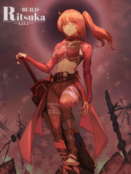 1girl, absurdres, ahoge, archer (fate), bangs, battlefield, bodysuit, boots, breasts, fate/grand order, fate (series), fujimaru ritsuka (female), hair between eyes, highres, holding, holding sword, holding weapon, jinlin, kamen rider, kamen rider build, kamen rider build (series), long hair, looking at viewer, orange eyes, orange hair, pants, ponytail, red bodysuit, ruins, standing, sword, weapon