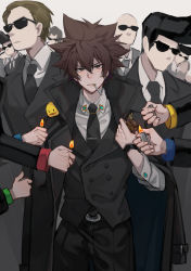 6+boys, absurdres, alternate costume, animal, animal on shoulder, bald, bangs, belt, belt buckle, bird, bird on shoulder, black belt, black coat, black hair, black jacket, black neckwear, black pants, black vest, boss, brown eyes, brown hair, buckle, cigarette, closed mouth, coat, collar, collared shirt, crowd, fire, formal, hands, hibird, highres, holding, holding lighter, jacket, jacket on shoulders, katekyo hitman reborn!, lighter, long sleeves, looking at viewer, mafia, male focus, mouth hold, multiple boys, necktie, no mouth, open clothes, open coat, out of character, pants, pompadour, sawada tsunayoshi, serious, shirt, short hair, spiked hair, standing, suit, sunglasses, vest, white shirt, wuhuohuohuo