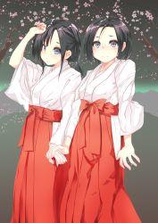 2girls, absurdres, highres, japanese clothes, miko, multiple girls, original, smile, yuri