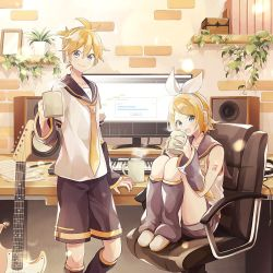 1boy, 1girl, arm warmers, bangs, bare shoulders, bass clef, black collar, black shorts, black sleeves, blonde hair, blue eyes, book, bookshelf, bow, brick wall, cable, chair, collar, commentary, computer, crop top, cup, desktop, detached sleeves, electric guitar, guitar, hair bow, hair ornament, hairclip, headphones, holding, holding cup, indoors, instrument, kagamine len, kagamine rin, keyboard (instrument), knees up, leg warmers, looking at viewer, monitor, mug, nail polish, neckerchief, necktie, office chair, open mouth, pectorals, pencil, picture frame, plant, potted plant, sailor collar, school uniform, sheet music, shelf, shirt, short hair, short ponytail, short shorts, short sleeves, shorts, sitting, sleeveless, sleeveless shirt, smile, speaker, spiked hair, steam, suzumi (fallxalice), swept bangs, vocaloid, white bow, white shirt, yellow nails, yellow neckwear