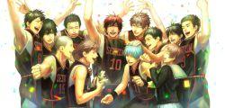 1girl, 6+boys, aida riko, basketball uniform, blue hair, brown hair, confetti, dog, fukuda hiroshi, furihata kouki, glasses, hand up, happy, highres, hyuuga junpei, izuki shun, kagami taiga, kawahara kouichi, kiyoshi teppei, koganei shinji, kuroko no basuke, kuroko tetsuya, mitobe rinnosuke, multiple boys, puppy, red hair, school uniform, serafuku, short hair, smile, sportswear, streamers, suiact, tetsuya ni gou, tsuchida satoshi, white background