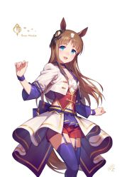 1girl, animal ears, artist logo, blue bow, blue choker, blue eyes, blue legwear, blue skirt, blush, bow, breasts, brown hair, character name, choker, commentary, corset, cowboy shot, cropped jacket, eyebrows visible through hair, garter straps, grass wonder, hair ornament, hair ribbon, horse ears, horse tail, jacket, large bow, long hair, looking at viewer, midriff, miniskirt, multicolored hair, navel, okada manabi, open mouth, pleated skirt, red shorts, ribbon, short shorts, shorts, shorts under skirt, simple background, skirt, small breasts, smile, solo, straight hair, tail, thighhighs, thighs, two-tone hair, umamusume, white background, white hair, white jacket, wristband, zettai ryouiki