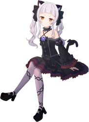 1girl, absurdres, animal ears, bangs, bare shoulders, black dress, black sleeves, blunt bangs, bow, bowtie, brooch, cat ears, cat girl, cat tail, center frills, chain print, choker, closed mouth, criss-cross halter, detached sleeves, dress, dress bow, flat chest, floating, frilled choker, frilled dress, frilled ribbon, frills, full body, gothic lolita, grey legwear, hair ribbon, halter dress, halterneck, high heels, highres, hololive, jewelry, juliet sleeves, layered dress, light blush, lolita fashion, long hair, long sleeves, looking at viewer, mary janes, murasaki shion, pantyhose, pinstripe pattern, print legwear, puffy sleeves, ribbon, shoes, short dress, short eyebrows, sidelocks, silver hair, simple background, sitting, sleeveless, sleeveless dress, smile, smug, solo, star brooch, striped, tail, tail bow, tail ornament, twintails, v-shaped eyebrows, virtual youtuber, white background, wide sleeves, yaqua, yellow eyes