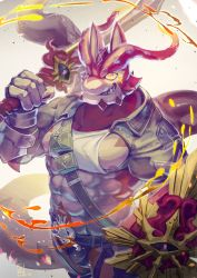 1boy, abs, bara, bare pecs, briefs, bulge, colored sclera, cthugha (tokyo houkago summoners), fingernails, fire, fish boy, furry, highres, holding, holding shield, holding sword, holding weapon, itohiro03, large pectorals, leather, male focus, male underwear, muscular, muscular male, nail polish, navel, nipples, octopus boy, over shoulder, purple eyes, purple nails, sharp fingernails, shield, short hair, solo, stomach, sword, sword over shoulder, tail, tank top, tentacle, tentacle hair, thick eyebrows, tokyo houkago summoners, underwear, weapon, weapon over shoulder, white tank top, yellow sclera