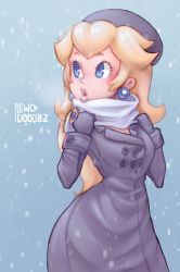 1girl, bangs, beret, black coat, black gloves, black headwear, blonde hair, blue background, blue eyes, breasts, breath, buttons, coat, coat dress, earrings, eyelashes, gloves, hands up, hat, highres, jewelry, lewddoodlez, lips, long hair, long sleeves, looking to the side, mario (series), nintendo, open mouth, princess peach, scarf, scarf grab, snowing, solo, super mario odyssey, thick lips, white scarf
