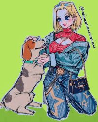 1girl, :d, animal, aqua jacket, bag, beagle, belt, black belt, blonde hair, blue bag, blue eyes, blue mary, blue nails, blush, bracelet, breasts, buttons, chain, chains, cleavage, cleavage cutout, clothing cutout, dog, earrings, eyelashes, eyewear on head, fatal fury, fingernails, glasses, gold chain, green background, hair intakes, hair ornament, hairclip, handbag, highres, jacket, jewelry, long sleeves, medium breasts, multiple earrings, nail polish, necklace, open clothes, open jacket, open mouth, outline, pet, petting, pocket, poririna, red lips, ribbed sweater, smile, star (symbol), star earrings, star necklace, star print, sweater, the king of fighters, turtleneck, turtleneck sweater, twitter username, unbuttoned, yellow-framed eyewear