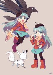 1girl, absurdres, alfur aldric, blue eyes, blue hair, elf, highres, hilda (hilda), hilda (series), horns, pointy ears, raven, raven (hilda), scarf, skirt, twig (hilda), wings