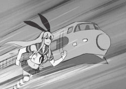 1girl, 8 man (series), clenched hand, derivative work, elbow gloves, feet out of frame, gloves, greyscale, ground vehicle, hair ornament, hairband, kantai collection, long hair, midriff, monochrome, motion lines, parody, running, sailor collar, screencap redraw, seo tatsuya, shimakaze (kancolle), sidelocks, skirt, solo, striped, striped legwear, thighhighs, train, white gloves