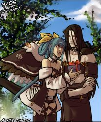 1boy, 1girl, asymmetrical gloves, bare shoulders, bird, birthday, black clothes, black hair, blue hair, blue sky, box, choker, cloud, crow, dizzy (guilty gear), gift, gift box, gloves, guilty gear, guilty gear xx, hair between eyes, leaf, long hair, looking at another, midriff, muffintosser, open clothes, open skirt, puffy sleeves, red eyes, ribbon, skirt, sky, smile, tail, testament (guilty gear), thigh strap, tree, wings, yellow ribbon