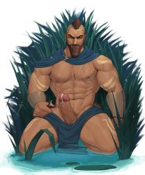 Rule 34   1boy, abs, absurdres, arm tattoo, bara, bare pecs, beard, blue cape, brown hair, cape, dark skin, dark skinned male, erection, facial hair, highres, large pectorals, league of legends, leg tattoo, looking at viewer, male focus, male pubic hair, mature male, mohawk, muscular, muscular male, navel, navel hair, nipples, nude, pantheon (league of legends), partially submerged, pelvic curtain, penis, plant, precum, pubic hair, reward available, scar, scar on chest, short hair, solo, spread legs, stomach, tattoo, thick thighs, thighs, uncensored, whyhelbram