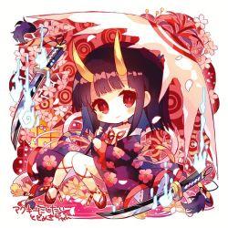1girl, bangs, bare legs, black hair, blush, cherry blossom print, cherry blossoms, chibi, closed mouth, floral print, full body, geta, hibi89, holding, holding umbrella, horns, japanese clothes, katana, kimono, long hair, looking at viewer, merc storia, nail polish, oni, oni horns, red eyes, red nails, sitting, solo, sword, todomeki (merc storia), umbrella, weapon