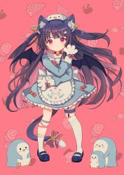1girl, animal ear fluff, animal ears, apron, asymmetrical legwear, bangs, bat wings, bell, beret, black choker, black footwear, black hair, black wings, blue dress, blue headwear, blush, bow, brown bow, cat ears, cat girl, cat tail, choker, closed mouth, commission, dress, eyebrows visible through hair, fish hair ornament, frilled apron, frills, gloves, hair ornament, hairclip, hand up, hat, heart, heart-shaped pupils, highres, jingle bell, kneehighs, long hair, long sleeves, looking at viewer, marekamico, multicolored hair, neck bell, original, paw gloves, paws, pink hair, puffy long sleeves, puffy sleeves, purple eyes, red bow, shoes, single kneehigh, single sock, skeb commission, socks, solo, symbol-shaped pupils, tail, tail bell, tail bow, tail ornament, two-tone hair, two side up, v-shaped eyebrows, very long hair, wavy mouth, white apron, white gloves, white legwear, wings