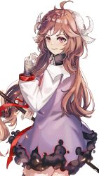 1girl, ahoge, animal ears, arknights, bandage, bandaged hands, bandages, bangs, blush, braid, brown hair, burnt clothes, closed mouth, cowboy shot, dress, ear protection, eyjafjalla (arknights), from behind, goat ears, goat girl, goat horns, highres, holding, holding staff, horns, long hair, long sleeves, looking at viewer, looking back, purple dress, purple eyes, solo, staff, very long hair, werlt