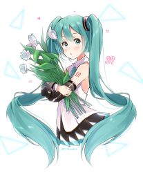 1girl, 39, :o, absurdres, aqua eyes, aqua hair, aqua nails, aqua neckwear, aqua ribbon, artist name, bare shoulders, black skirt, black sleeves, blurry, blurry background, bouquet, commentary, cropped legs, detached sleeves, flower, flower request, from side, gremlinbon, hair ornament, hatsune miku, hatsune miku (nt), heart, highres, holding, holding bouquet, layered sleeves, long hair, looking at viewer, miniskirt, nail polish, neck ribbon, parted lips, piapro, pleated skirt, ribbon, shirt, shoulder tattoo, skirt, sleeveless, sleeveless shirt, solo, tattoo, triangle, twintails, twitter username, upper body, very long hair, vocaloid, white background, white flower, white shirt, white sleeves
