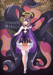 1girl, artist name, bare shoulders, black gloves, blush, choker, clothing cutout, eyebrows visible through hair, flaming eyes, full body, fur-trimmed choker, fur trim, gloves, gradient, gradient hair, halo, hololive, hololive english, long hair, low wings, minxei, mole, mole under eye, multicolored hair, ninomae ina'nis, parted lips, patterned clothing, purple eyes, purple hair, solo, tentacle, tentacle hair, thighhighs, virtual youtuber, watermark, white legwear, wings