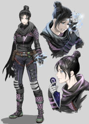 1girl, apex legends, bangs, belt, black scarf, breasts, brown belt, clenched teeth, electricity, from side, hair behind ear, hair bun, highres, holding, holding knife, knife, kunai, looking at viewer, looking down, medium breasts, meriko (meri com25), multiple views, open hand, parted bangs, scarf, smile, teeth, thigh strap, upper body, weapon, wraith (apex legends)