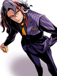 1boy, bangs, black shirt, bv illust, fate/grand order, fate (series), formal, glass, hand in pocket, male focus, messy hair, multicolored hair, necktie, odysseus (fate), one eye closed, pinstripe pattern, pinstripe suit, purple suit, red hair, shirt, short hair, solo, streaked hair, striped, suit, two-tone hair, white background, white hair, yellow eyes