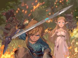 1boy, 1girl, artist name, bangs, belt, black belt, blonde hair, blood, blood on face, blue eyes, blue tunic, brown pants, character request, dress, e volution, fire, grass, hand up, holding, holding sword, holding weapon, jewelry, link, long hair, master sword, nintendo, one eye closed, open mouth, outdoors, pants, pointy ears, princess zelda, short sleeves, sidelocks, sword, teeth, the legend of zelda, the legend of zelda: breath of the wild, tongue, tree, weapon, white dress