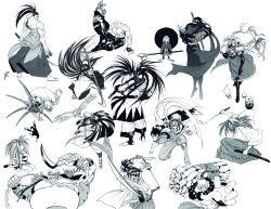 1990s (style), absurdres, cham cham, charlotte (samurai spirits), earthquake (samurai spirits), galford, haoumaru, hattori hanzo, highres, kafuin nikochin, kibagami genjuro, mamahaha, monochrome, nakoruru, retro artstyle, samurai, samurai spirits, senryou kyoushirou, shiranui gen-an, shiroi eiji, snk, tachibana ukyou, wan-fu, white background, yagyuu juubei (samurai spirits)