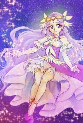 1girl, aizen (syoshiyuki), bare shoulders, commentary request, cure earth, dress, earrings, elbow gloves, eyelashes, fuurin asumi, gloves, hair ornament, happy, healin' good precure, highres, jewelry, long hair, looking at viewer, magical girl, precure, purple dress, purple eyes, purple hair, smile, solo, star (symbol), starry background, very long hair, white gloves