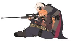 2girls, absurdres, aiming, alternate costume, bandaid, bandaid on arm, bangs, belt, black belt, black eyes, black hair, blonde hair, blue eyes, boots, buttons, camouflage, camouflage pants, cape, closed mouth, commentary, contemporary, eyebrows visible through hair, eyes visible through hair, fingerless gloves, from side, fur, fur-trimmed cape, fur trim, gloves, grey cape, grey gloves, grey shirt, gun, hair between eyes, hand on another's shoulder, highres, holding, holding gun, holding weapon, knifedragon, long hair, looking at viewer, lyza, made in abyss, multicolored hair, multiple girls, one eye closed, ozen, pants, parted lips, red cape, rifle, scar, scar on arm, scope, shirt, short hair, simple background, sitting, sniper rifle, spiked hair, trigger discipline, two-tone cape, two-tone hair, weapon, white background, white hair, yuri