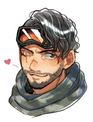 1boy, apex legends, black hair, facial hair, goggles, goggles on head, green eyes, green scarf, hair behind ear, head only, heart, husagin, looking to the side, male focus, mirage (apex legends), one eye closed, scar, scar across eye, scarf, smile, solo, stubble, white background