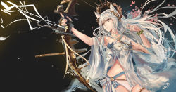 1girl, absurdres, aiming, animal ears, arknights, bangs, bare shoulders, bikini, bow (weapon), bracelet, breasts, brown eyes, commentary, cowboy shot, criss-cross halter, drawing bow, halterneck, highres, holding, holding bow (weapon), holding weapon, horse ears, jewelry, laurel crown, long hair, official alternate costume, platinum (arknights), platinum (shimmering dew) (arknights), sawkm, silver hair, solo, swimsuit, weapon, white bikini