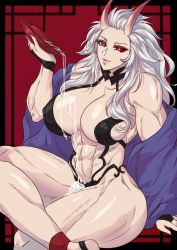 abs, absurdres, ass, barefoot, breasts, cosplay, demon girl, dorohedoro, fate/grand order, fate (series), highres, horns, huge ass, huge breasts, legs crossed, looking at viewer, muscular, muscular female, naughty face, noi (dorohedoro), oni horns, red eyes, seductive smile, shuten douji (fate), sitting, smile, thick thighs, thighs
