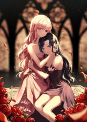 2girls, arms around waist, black dress, black hair, blurry, blurry background, breasts, cleavage, collarbone, curly hair, dress, flower, green eyes, hand on another's cheek, hand on another's face, heeri, highres, hug, kneeling, long hair, looking at viewer, medium breasts, multiple girls, original, petals, pink dress, pink hair, red eyes, red flower, red rose, rose, shiny, shiny hair, short dress, side slit, sideboob, sitting, sleeveless, sleeveless dress, strapless, strapless dress, very long hair, yuri