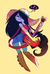 1girl, absurdres, adventure time, axe, bass guitar, bite mark, black eyes, black hair, boots, brown footwear, colored skin, denim, elbow gloves, gloves, grey skin, guitar, hair over one eye, hat, highres, instrument, jeans, knee boots, long hair, marceline abadeer, music, musical note, pants, rariatto (ganguri), red shirt, shirt, smile, sun hat, vampire, very long hair, yellow background, yellow gloves, yellow headwear