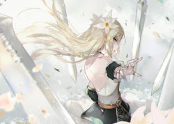 1girl, bare shoulders, belt, black skirt, blonde hair, braid, brown belt, detached sleeves, dress, elf, epic seven, floating hair, flower, from side, hair flower, hair ornament, halter top, halterneck, highres, jewelry, knight, long hair, looking at viewer, outstretched arm, outstretched hand, petals, pleated skirt, pointy ears, profile, ring, shoulder blades, sideways glance, skirt, solo, sword, vardan, weapon, white flower